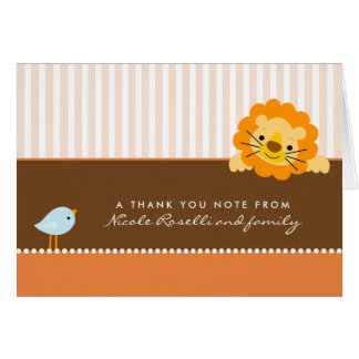 Adorable Lion Photo (inside) Thank You Card: coral Note Card