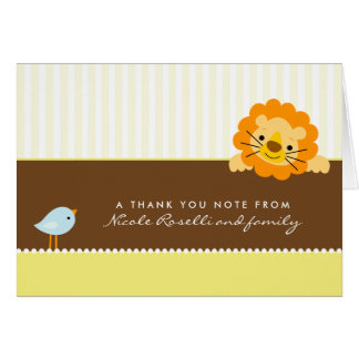 Adorable Lion Photo (inside) Thank You Card: lemon Note Card