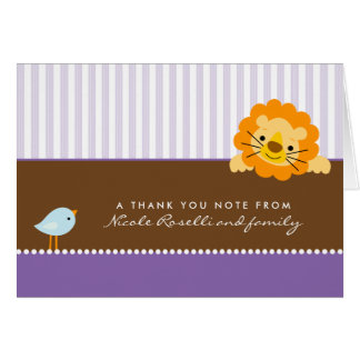Adorable Lion Photo (inside) Thank You Card: lilac Note Card