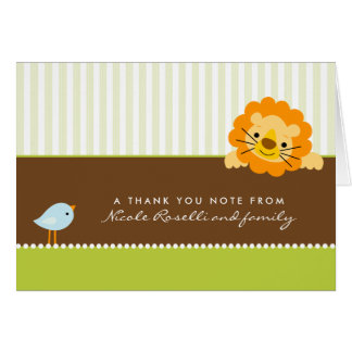 Adorable Lion Photo (inside) Thank You Card: lime Note Card