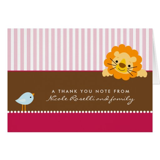 Adorable Lion Photo (inside) Thank You Card: pink