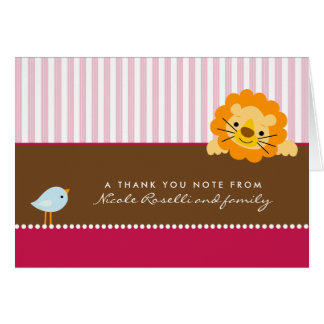 Adorable Lion Photo (inside) Thank You Card: pink Note Card