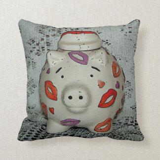 Adorable Lipstick Pig Throw Pillow
