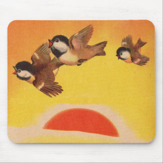 adorable little birds greet the morning mouse pad