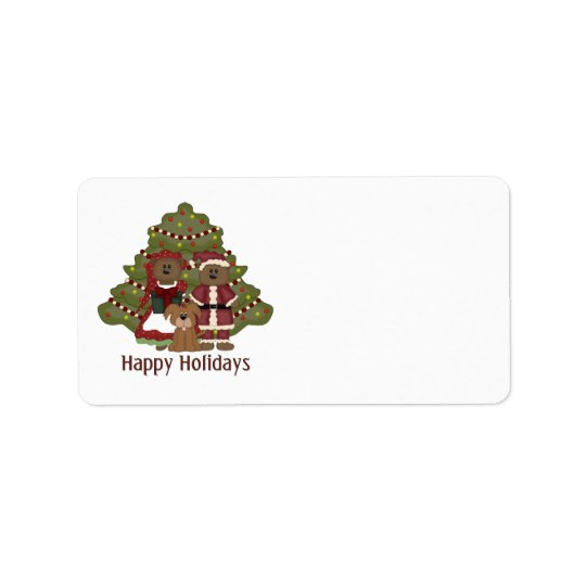 Adorable Little Brown Doggy Christmas Holiday Label