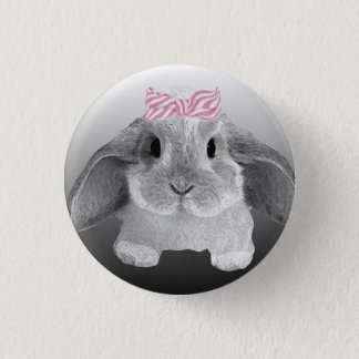 Adorable little bunny with a pink bow 1 inch round button
