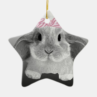 Adorable little bunny with a pink bow ceramic ornament
