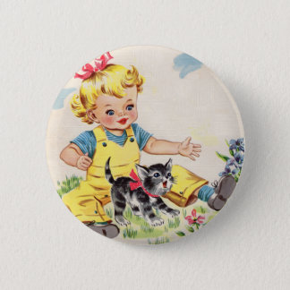 adorable little girl with adorable little kitten 2 inch round button