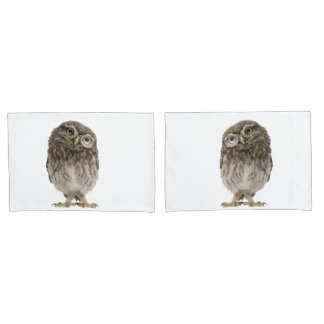 Adorable little owl wearing magnifying glass pillowcase