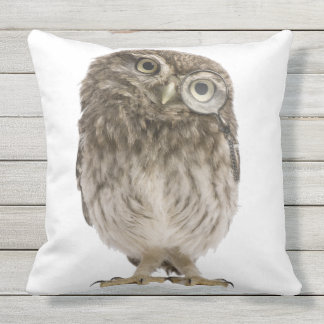 Adorable little owl wearing magnifying glass throw pillow