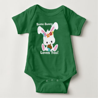 Adorable Little White Bunny Some Bunny Loves You Baby Bodysuit