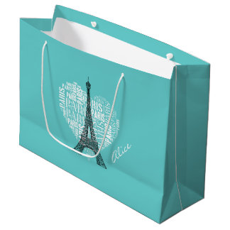 Adorable Love Paris Gift | Aqua Large Gift Bag