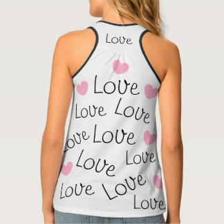 Adorable Love Word Pattern Pink Hearts Tank Top
