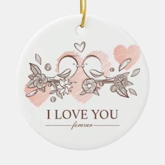 Adorable Lovebirds In Love Valentine | Ornament