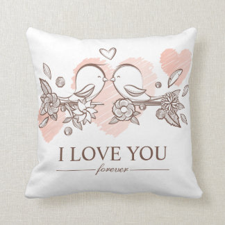 Adorable Lovebirds In Love Valentine Throw Pillow