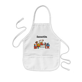 Adorable Maisy in Red Overalls Kids Apron