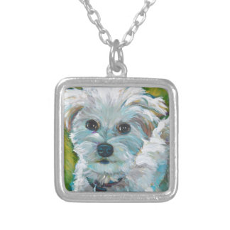 Adorable MALTIPOO Silver Plated Necklace