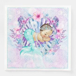 Adorable Mermaid Baby Shower Napkins Disposable Napkins
