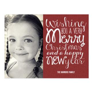 Adorable Message Christmas Photo Card Postcard