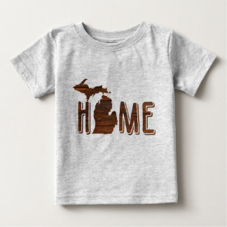 Adorable Michigan is Home   Wood Silhouette   Cute Baby T-Shirt