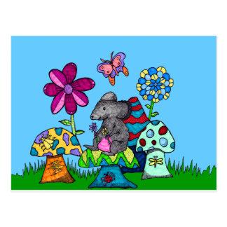 Adorable Mouse Amongst the Mushrooms Postcard