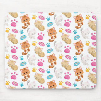 Adorable Multicolor Cartoon Style Cats Paw Prints Mouse Pad
