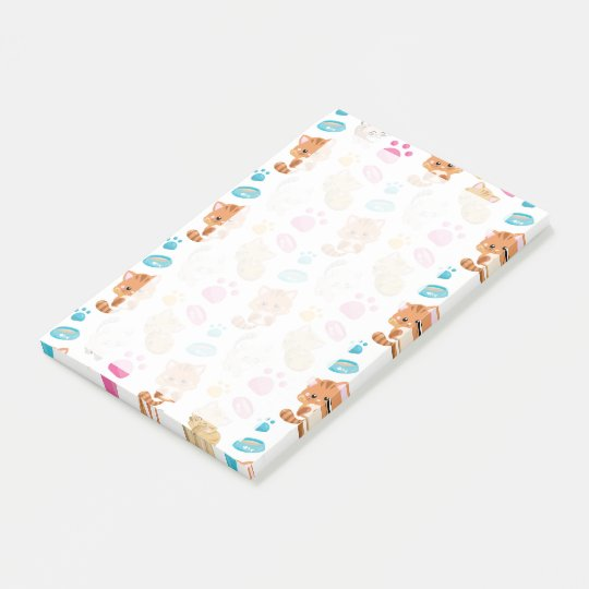 Adorable Multicolor Cartoon Style Cats Paw Prints Post-it Notes