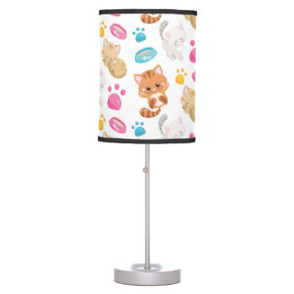 Adorable Multicolor Cartoon Style Cats Paw Prints Table Lamp