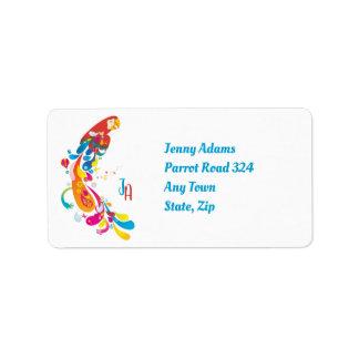 Adorable Multicolor Parrot Label