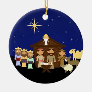 Adorable Nativity Personalized Christmas Ceramic Ornament
