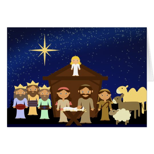 Adorable Nativity Scene Christmas greeting card