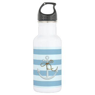 Adorable Nautical Anchor on Light Blue  Stripes