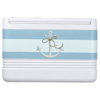 Adorable Nautical Anchor on Light Blue  Stripes