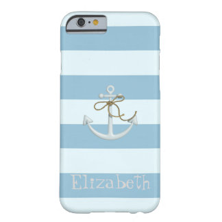 Adorable Nautical Anchor on Light Blue  Stripes Barely There iPhone 6 Case