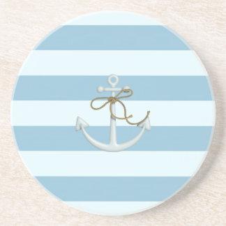 Adorable Nautical Anchor on Light Blue  Stripes Coaster