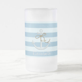 Adorable Nautical Anchor on Light Blue  Stripes Frosted Glass Beer Mug