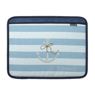 Adorable Nautical Anchor on Light Blue  Stripes MacBook Air Sleeve