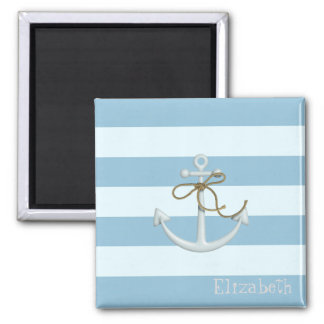 Adorable Nautical Anchor on Light Blue  Stripes Magnet
