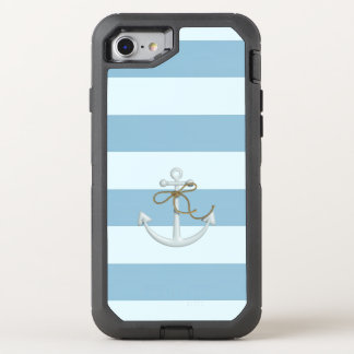 Adorable Nautical Anchor on Light Blue  Stripes OtterBox Defender iPhone 8/7 Case