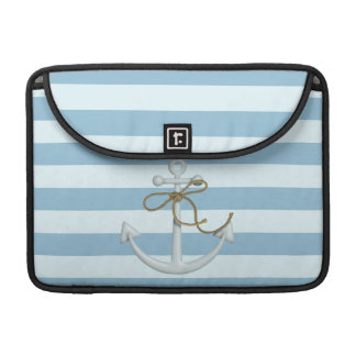 Adorable Nautical Anchor on Light Blue  Stripes Sleeve For MacBooks