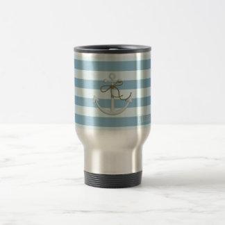 Adorable Nautical Anchor on Light Blue  Stripes Travel Mug