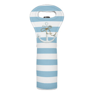 Adorable Nautical Anchor on Light Blue  Stripes Wine Bag