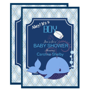 Adorable Nautical Whale Baby Shower Invitation
