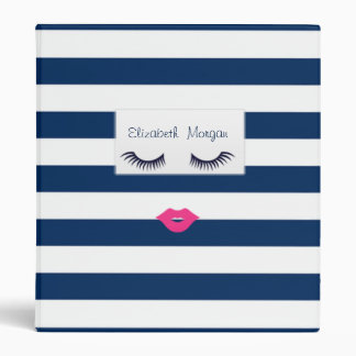 Adorable Navy Blue Striped,Lashe,Lips-Personalized 3 Ring Binders