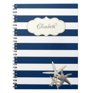 Adorable Navy Blue stripses,Starfish ,Personalized Notebook