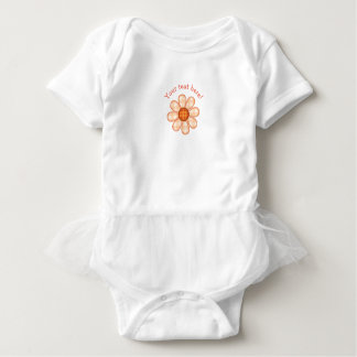 Adorable Orange Country Plaid Graphic Flower Icon Baby Bodysuit