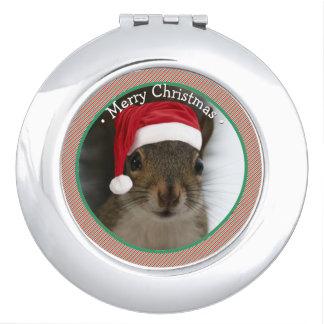 Adorable Original Santa Squirrel Wearing Hat Makeup Mirrors