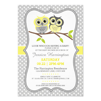 "Adorable Owls Baby Shower 5"" X 7"" Invitation Card"