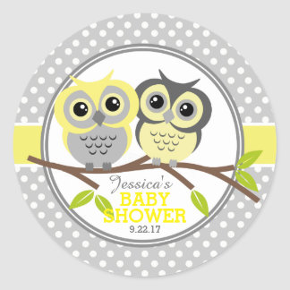 Adorable Owls Baby Shower Round Sticker