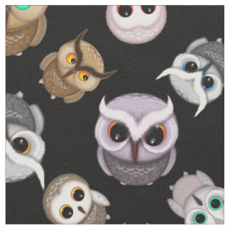 Adorable Owls on Black Background Fabric